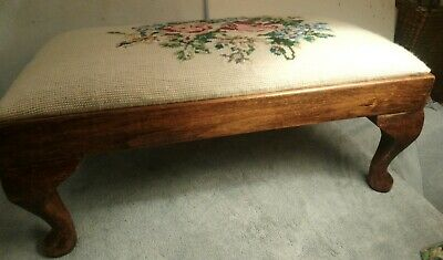 Vintage Wooden Footstool with Needlework Tapestry Floral Top. Queen Anne Legs