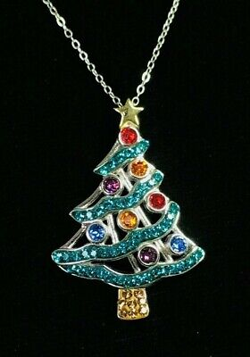 NEW Colorful Christmas Tree Pendant Sterling Silver made with Swarovski Crystals