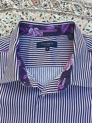 TED BAKER - Black-White - Striped - Button Cuff - CHEW - Shirt - Size 5