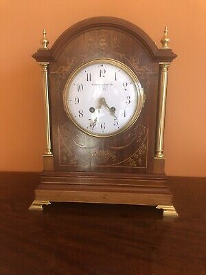 Exceptional Antique Inlaid Marquetry & Mahogany 14 Day Bracket Clock