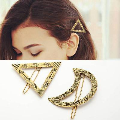 Fashion Women's Metal Gold/Silver Triangle /Moon Hair Accessories Pin Barrettes