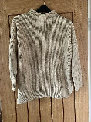 Topshop Camel High Neck Chunky Knit Ribbed Jumper Size 8