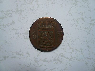 Nederlands Indie Colonial Copper Coin 1/4S 1826 & Bonus Ned. Indie 1945 1/2 coin