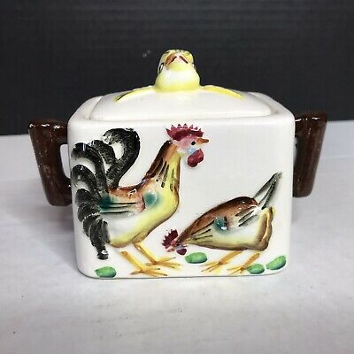 Antique Sugar Bowl Chickens Rooster Baby Chick Made In Japan Country Farmhouse