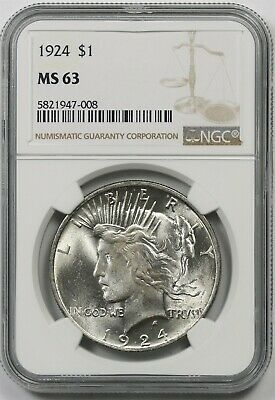 1924 $1 NGC MS 63 Peace Silver Dollar