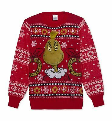 $180 Hybrid Men's Red Crew-Neck The Grinch Holiday Sweater Christmas Size S