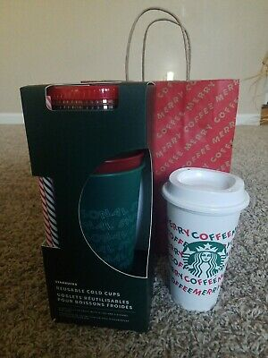 Starbucks 2019 Holiday Christmas 5 Reusable Cold Cups pk & Merry Coffee Hot Cup