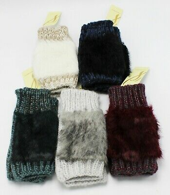 New Fingerless Faux Fur Womens Gloves by Collection XIIX nwt #FG24