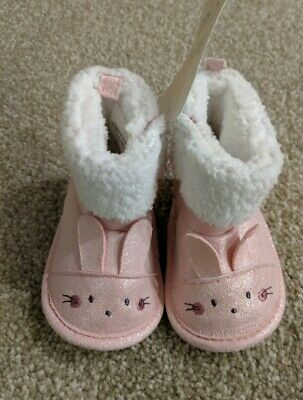 Boots Mini Club Baby Girls Pink Winter Bunny Rabbit Booties 0-3 Months BNWT