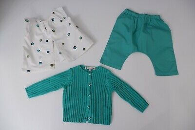 Bonpoint 3 Piece Outfit Set Baby Age 6m Months Cardigan , Trouser, Top Girls