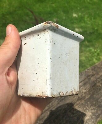 Antique Vtg Architectural Salvage Porcelain over Cast Iron Bathroom Razor Cup