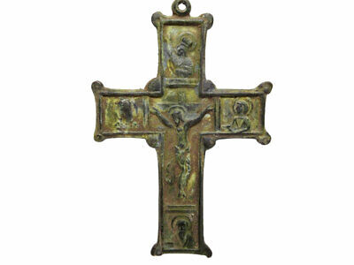 Authentic Antique Large Orthodox Icon Prayer Cross, Top As Found Condition++