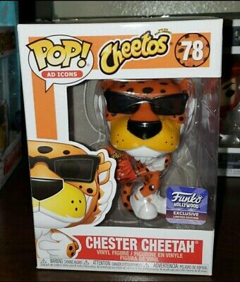 Funko Pop Hollywood Grand Opening Chester Cheetah exclusive and common in hand.