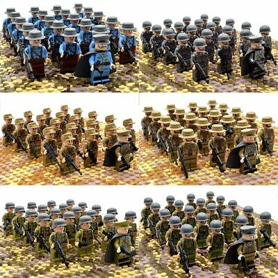 21pcs WW2 Military Soldiers France US Britain Army Weapon for Lego Minifigures