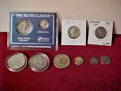 American Classic coin Silver Lot Barber, Mercury, Franklin, Liberty etc 10 coins