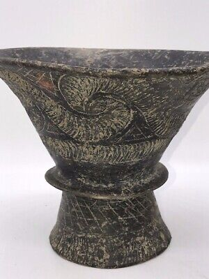 """Woodland Indian Incised Bowl,H:6.5"""" pre columbian Native American pottery"""