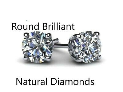 1.00 Ct Genuine Round Cut Diamond Solitaire Stud Earrings D Vs2 14K White Gold
