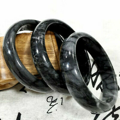 Fashion Chinese Natural Hand Carved Beautiful Black Flower Bracelet 60mm