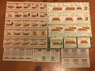 BK Burger King Longhorn Steakhouse Subway Denny's Red Lobster Coupon Lot