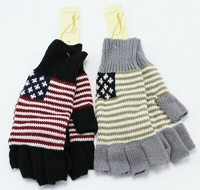 New Abstract American Flag Womens Fingerless Gloves by Collection XIIX nwt #FG26