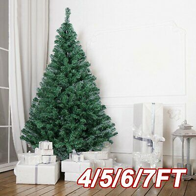 4-//7ft Tall Christmas Tree w//Stand Home Xmas Decor Outdoor Realistic Green Pine