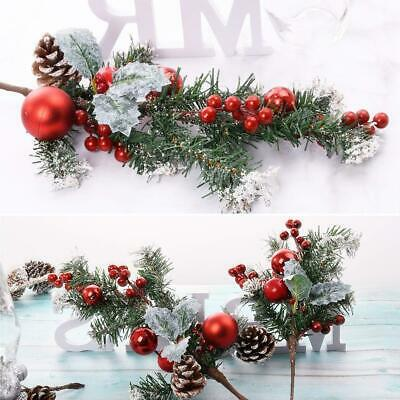 Red Berry Berries Green Needle Pine Cones Pick Christmas Garland Home Xmas Decor