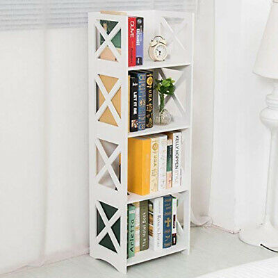3//4 Tier Lattice Cut-Out Wooden Bookcase Commodity Shelf Home Storage Organizer