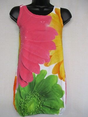 BOBOLI  size 10y girls multi color floral sleeveless jumper dress cotton    G9