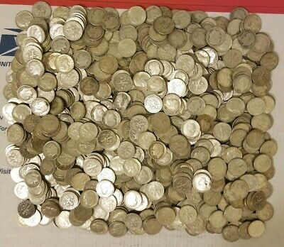 $100 antique 90% silver Roosevelt dimes mixed date average circulated