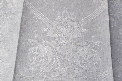 Fancy Linen Damask Towel With Rose Pattern - Unused With Tag
