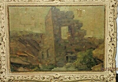 Old impressionist Oil on Board Unknown Artist Ancient Ruins