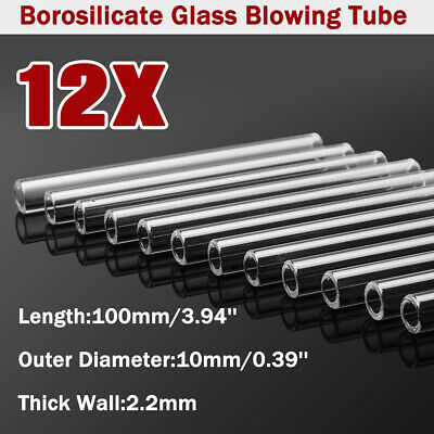 12Pcs 10mm OD 2.2mm 100mm Glass Tubing Borosilicate Pyrex Blowing Blow Tubes LAB