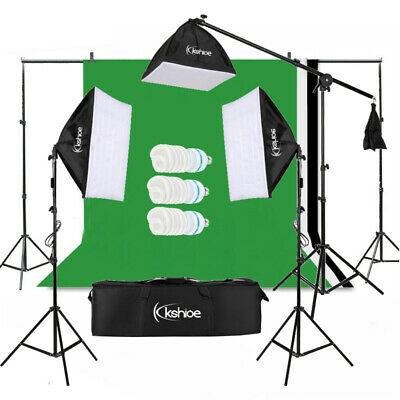 Photo Screen 3 Backdrops Set Studio Softbox Lighting Soft Box Boom Arm Stand Kit