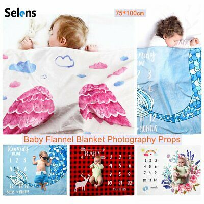 Selens Newborn Baby Flannel Blanket Milestone Monthly Growth Photography Props