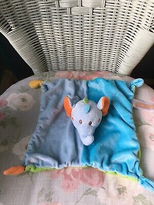 Aldi Little Town Elephant Comforter Blankie Soft Toy Soother Doudou Blue Green