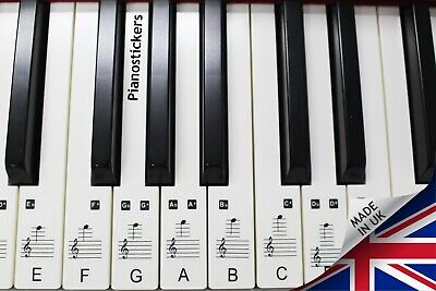 Stickers for 88 key Piano or Keyboard 52 white key clear laminated stickers