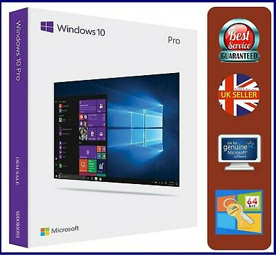 Microsoft Windows 10 Pro Professional 64bit DVD inc Genuine   Product Key