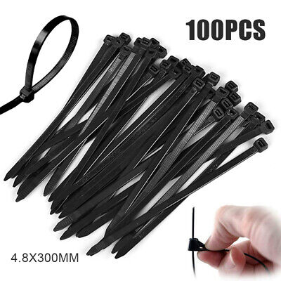 100Pcs Cable Ties Zip Ties Nylon UV Stabilised Bulk Electrical Wire 4.8x300mm AU