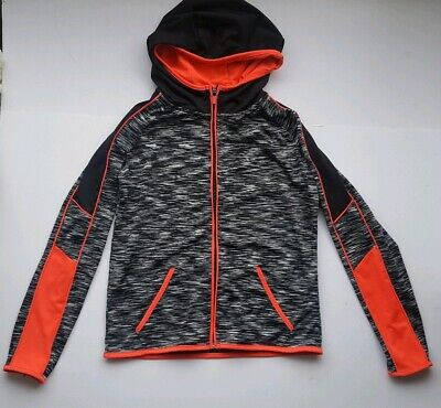 YD Girls sports tracksuit top black grey pink age 11 - 12 years