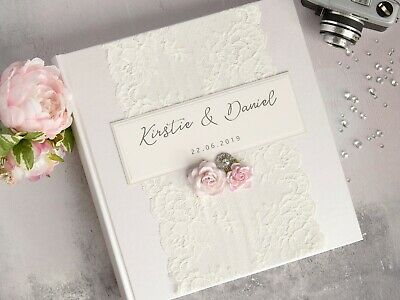 Personalised Wedding Photo Album. Vintage Lace and Rose. 50 pages 100 sides.
