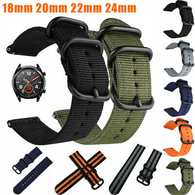 18mm 20mm 22mm 24mm Woven Nylon Military Watch Strap Band + Quick Release Pins