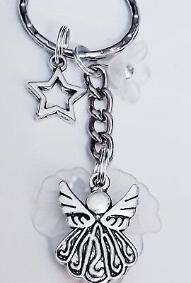 Kids Keyring Little Girls Angel Stars White Lucite and Silver Pretty Gift