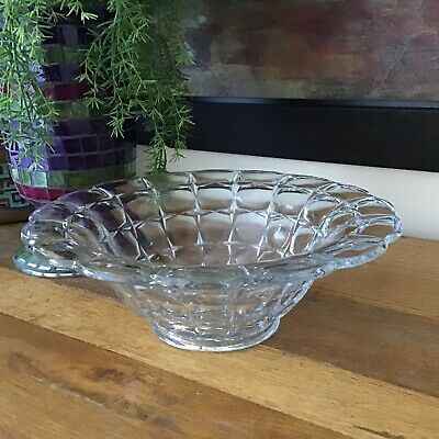 1800s ABP Glass? Large Heavy Serving Bowl Waffle Block Scallop Grape Motif 11""