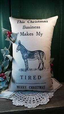 Comical Christmas Donkey Pillow Homestead Farm Country Decoration Primitive