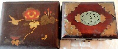 2 Antique East Asian Trinket Jewelry Boxes 1 is Japanese 1 is Chinese