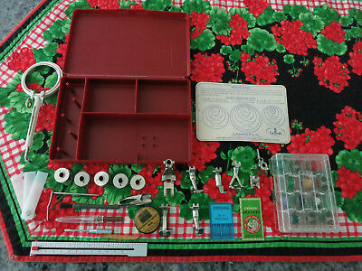 Bernina Sewing Machine Red Accessory Storage Box Case Feet Bobbins Misc. Lot