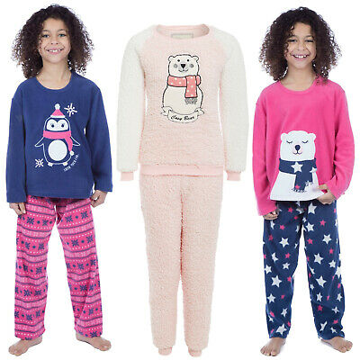 Girls Pyjamas Set Polar Fleece Warm Penguin Bear Winter Kids Pj Sleep Night Wear