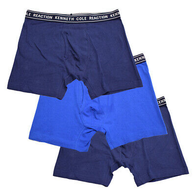 Kenneth Cole Men's 3 Pack Solid Navy Blue Navy Boxer Briefs (S06)