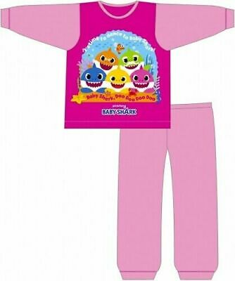 Baby Shark Pyjamas Childrens Kids Girls Pink PJs Age 18 Months-5 Years