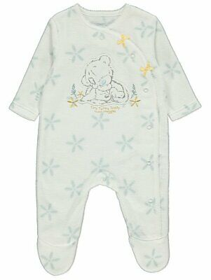 Baby Girls TATTY TEDDY White Fleece All In One Sleepsuit (0 to 18 months)